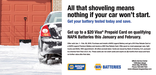 January and February 2018 Battery Coupon Green Bay, WI